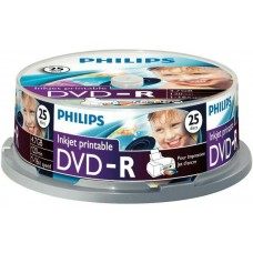 DVD lemez Philips 4,7GB -R 25lemez/henger nyomtatható PH924306